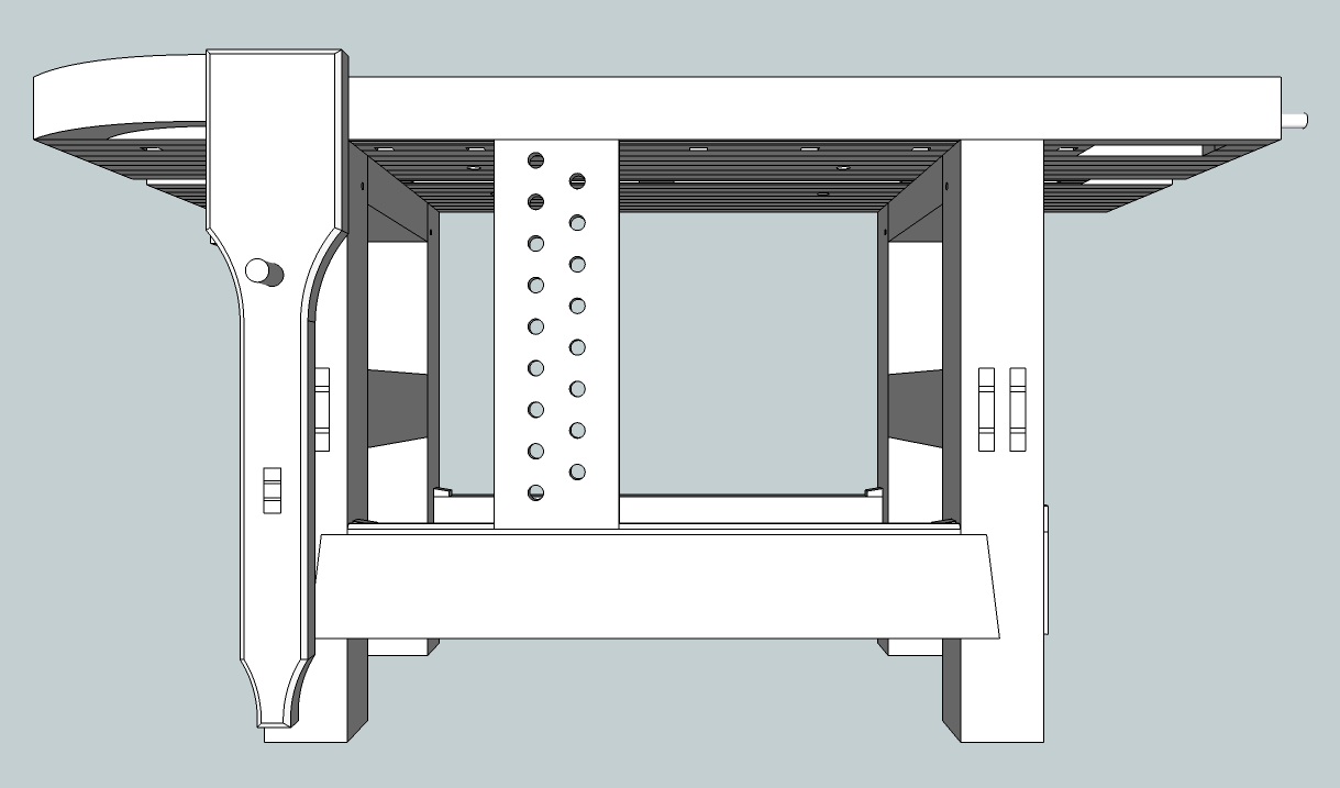 The Split Top Hybrid Roubo Sketchup The Fameless Woodworker